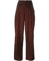 Pantalones anchos de seda burdeos de Isabel Marant