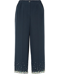 Pantalones anchos de seda con adornos azul marino de Miu Miu