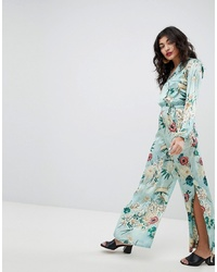 Pantalones anchos de seda con print de flores en multicolor de RD & Koko