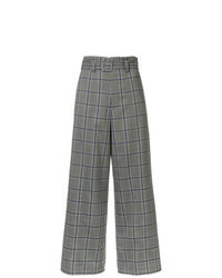 Pantalones anchos de tartán grises