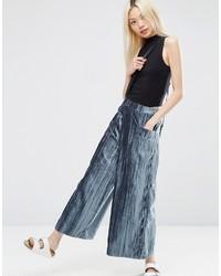 Pantalones Anchos de Terciopelo Azules de Asos