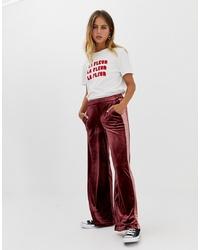 Pantalones anchos de terciopelo burdeos de Only