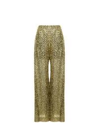 Pantalones anchos dorados de Roland Mouret