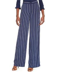 Pantalones anchos en azul marino y blanco