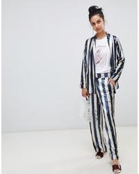 Pantalones anchos en azul marino y blanco de LOST INK