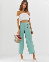 Pantalones anchos en verde menta de Vero Moda