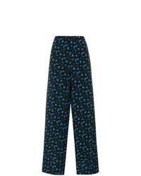 Pantalones anchos estampados azul marino de Marni