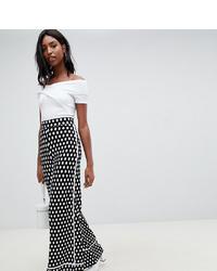 Pantalones anchos estampados en negro y blanco de Asos Tall