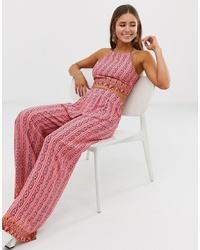 Pantalones anchos estampados rosados de Glamorous