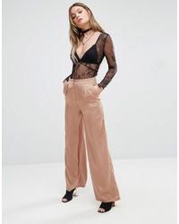 Pantalones anchos marrón claro de Glamorous