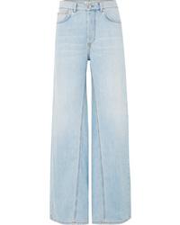 Pantalones anchos vaqueros celestes de Ganni