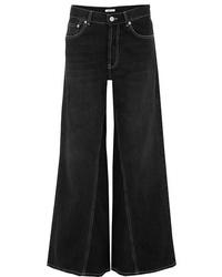 Pantalones anchos vaqueros negros de Ganni