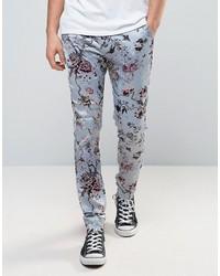Pantalones con print de flores celestes de Asos