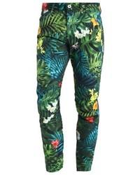 Pantalones con print de flores en verde azulado