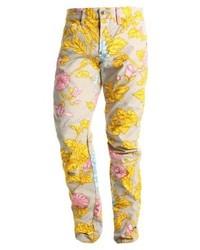 Pantalones con print de flores marrón claro