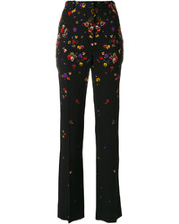 Pantalones con print de flores negros de Givenchy