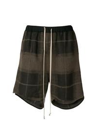 Pantalones cortos a cuadros en marrón oscuro de Rick Owens