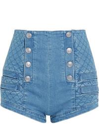 Pantalones Cortos Acolchados Azules de PIERRE BALMAIN