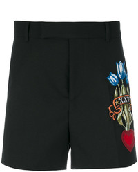 Pantalones Cortos Bordados Negros de Gucci