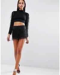 Pantalones cortos con adornos negros