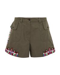 Pantalones cortos con adornos verde oliva de Valentino