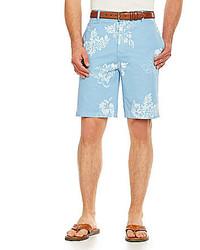 Pantalones cortos con print de flores celestes