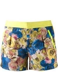 Pantalones cortos con print de flores en azul marino y amarillo