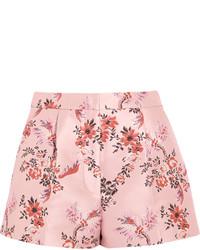 Pantalones cortos con print de flores rosados