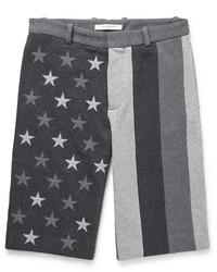 Pantalones Cortos de Algodón Bordados en Gris Oscuro de Givenchy