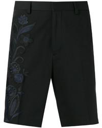 Pantalones cortos de algodón bordados negros de Fendi