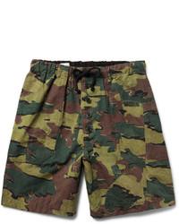 Pantalones cortos de algodón de camuflaje verde oscuro de Dries Van Noten