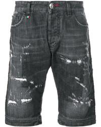 Pantalones cortos de algodón desgastados en gris oscuro de Philipp Plein