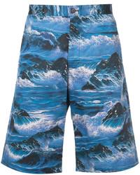 Pantalones Cortos de Algodón Estampados Azules de Givenchy