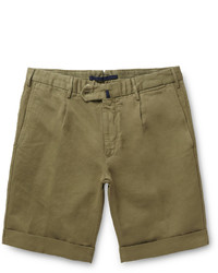 Pantalones Cortos de Algodón Verde Oliva de Incotex