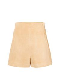 Pantalones Cortos de Ante Marrón Claro de Rosetta Getty