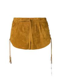 Pantalones Cortos de Ante Marrón Claro de Saint Laurent