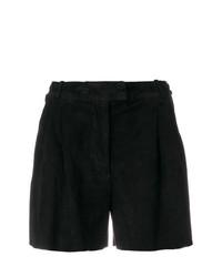 Pantalones cortos de ante plisados negros de Salvatore Santoro