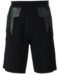 Pantalones cortos de cuero con estampado geométrico negros de Neil Barrett