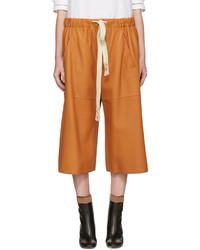 Pantalones Cortos de Cuero Naranjas de Loewe