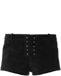 Pantalones cortos de cuero negros de Etoile Isabel Marant