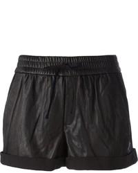 Pantalones cortos de cuero negros de Helmut Lang