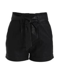 Pantalones Cortos de Cuero Negros de LOST INK