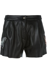 Pantalones cortos de cuero negros de Philipp Plein