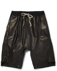 Pantalones cortos de cuero negros de Rick Owens