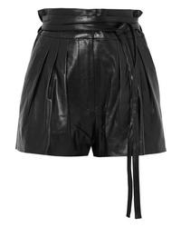 Pantalones cortos de cuero plisados negros de IRO