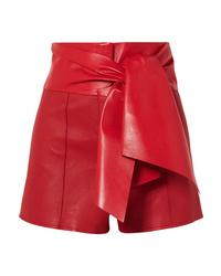 Pantalones cortos de cuero rojos de Valentino