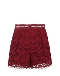 Pantalones cortos de encaje burdeos de Zimmermann