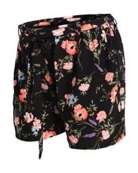 Pantalones Cortos de Flores Negros de New Look
