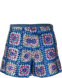 Pantalones cortos de lentejuelas de patchwork azules de Manoush