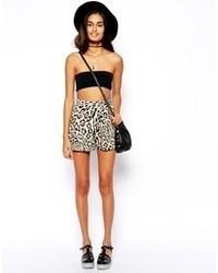 Pantalones Cortos de Leopardo Blancos y Negros de Asos
